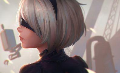 White hair, video game, 2B, game