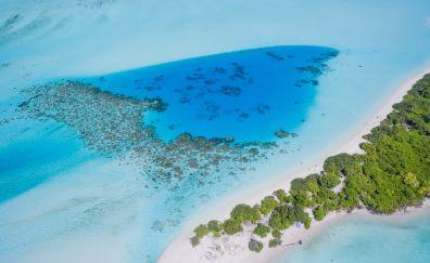 Tropical beach, sea, island, nature, aerial view, 4k