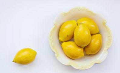 Lemons, yellow fruits, bowl