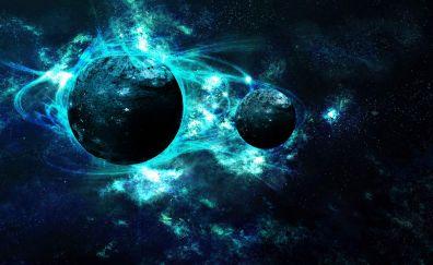 Blue galaxy planets