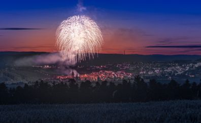 Fireworks over city, night, cityscape