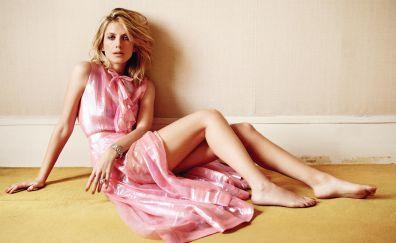 Melanie Laurent, blonde, celebrity, sitting, pink dress, bare foot