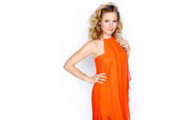 Kristen Bell in orange dress, celebrity, blonde