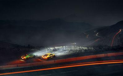Cars, night, light trails
