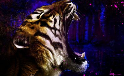 Tiger roar, muzzle, animal art