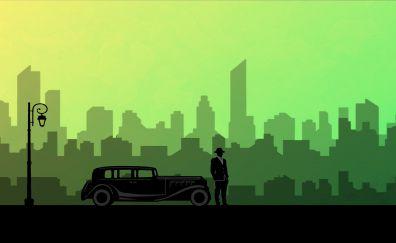 Car, man, night, city, abstract