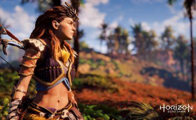 Aloy, girl warrior, Horizon zero dawn game
