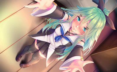 Green hair, yamakaze, kantai, kancolle, anime girl