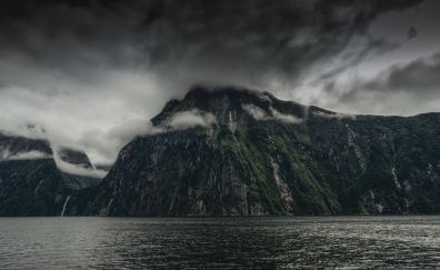 Fjord walls of Milford Sound New Zealand