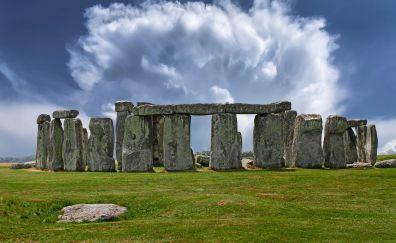 Stonehenge, monument, architecture, clouds, landscape