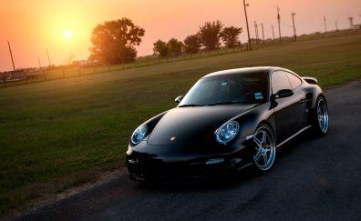 Porsche Boxster, black, sports car, sunset, landscape