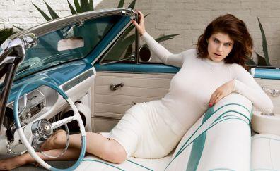 Alexandra daddario, white dress, car