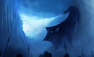 White walker, dragon, breaking the wall, art