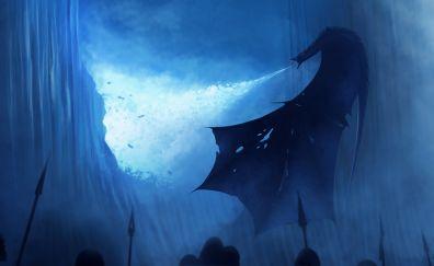 White walker, dragon, breaking the wall, art