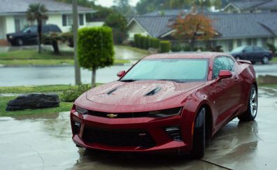 Rain, front view, Chevrolet Camaro, red car