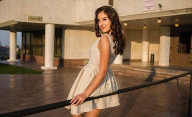 Beautiful, white skirt, girl, smile