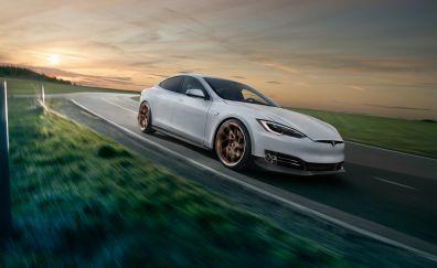 Tesla model s, novitec, motion blur, 4x