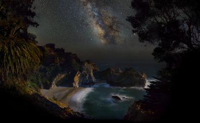 McWay Falls, waterfall, night, stars, milky way