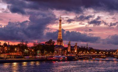 Eiffel tower, night, city, Paris, clouds, lights