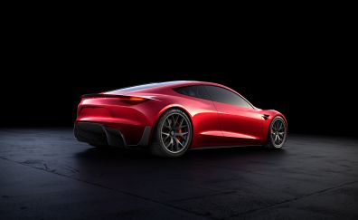 Tesla roadster, red car, rear view, 4k