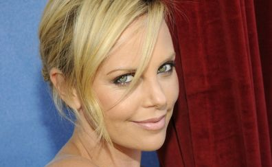 Charlize Theron's smiling face, celebrity