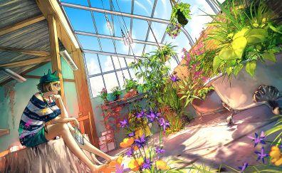 Backyard garden, anime girl, original