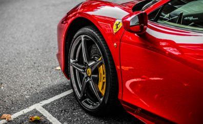 Red supercar, ferrari, wheel, 4k