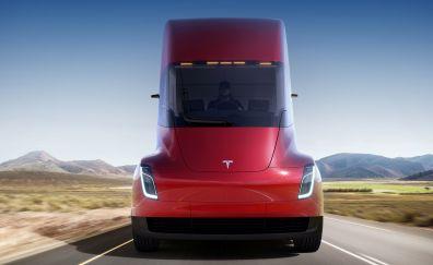 Tesla Semi, truck, red, 2018, 4k