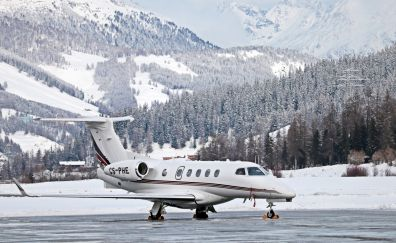 Aircraft, private jet, vehicles, winter, 5k