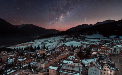 Winter, city, aerial view, milky way, night