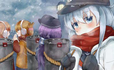 Winter, anime girls, hibiki, kancolle, 5k