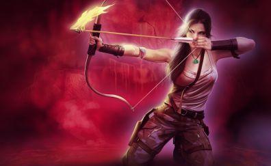 Tomb raider, lara croft, girl with bow and arrow, archer, art, 4k