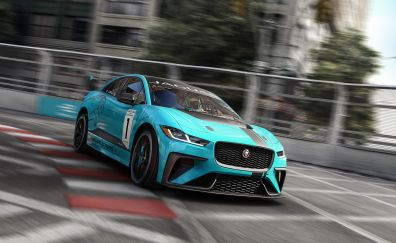 Jaguar I-PACE eTROPHY, electric race car, front, 4k