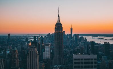 Empire state building, sunset, skyscrapers, new york, 5k