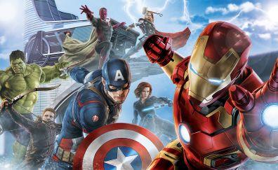 Avengers, Iron man, Captain America, Hulk, superhero, artwork, 5k