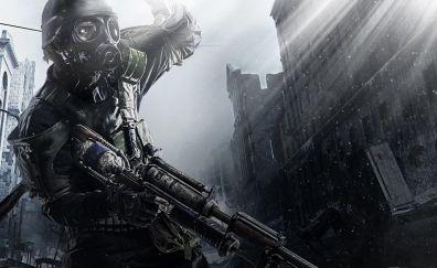 Metro 2033, dark, soldier, video game