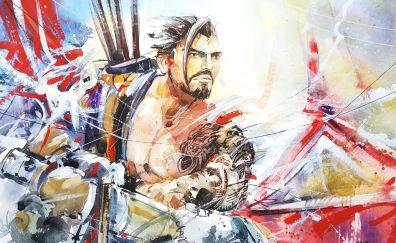 Hanzo, video game, overwatch, archer, art