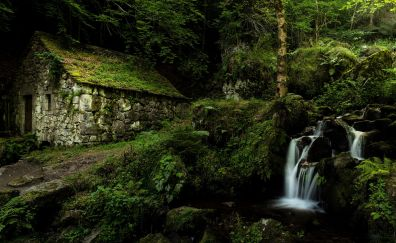 Stones house, waterfall, forest, nature