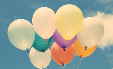Balloons, colorful, sky, 4k