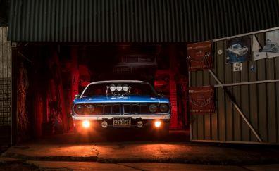 Plymouth Barracuda, classic, muscle car, garage