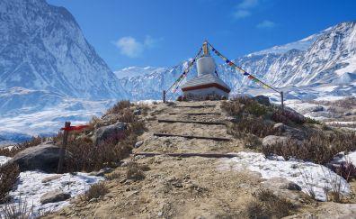 Tibetan shrine, religion, mountains, art
