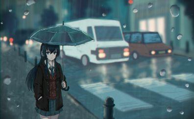 Walk, anime girl, rain, umbrella, street