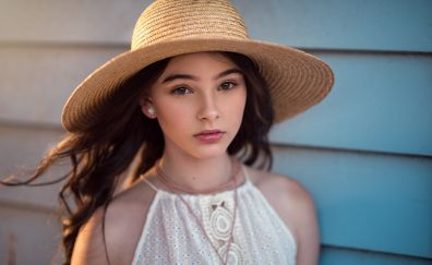 Straw hat, beautiful, girl model, brown eyes