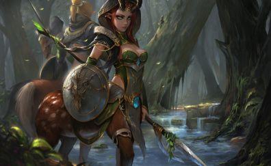Fantasy, forest, fantasy girl, warrior