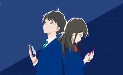 Cute, Akane Mizuno, Kotarou Azumi, Anime, Tsuki Ga Kirei, anime couple, 4k