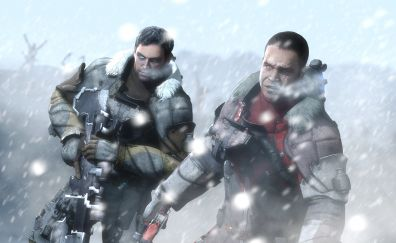 Dead Space 3, video game, soldier, snowfall