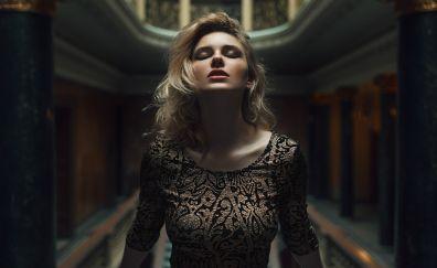 Carla stone, blonde, beautiful, closed eyes