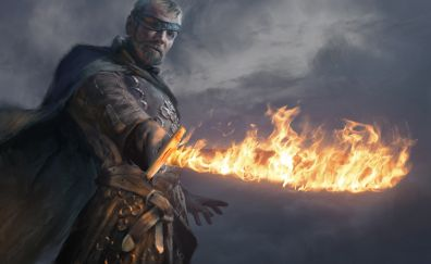 Beric Dondarrion, game of thrones, tv series, sword fire art