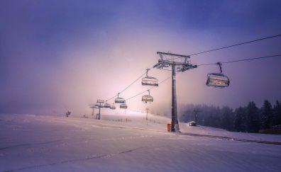 Rope way, landscape, snow, winter, night