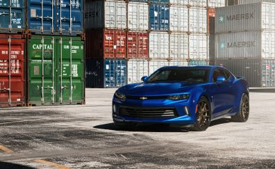 Chevrolet Camaro, blue sports car, front view